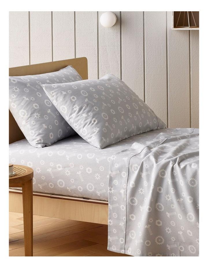 Turkish Cotton Bolts Flannelette Sheet Set in Grey image 1