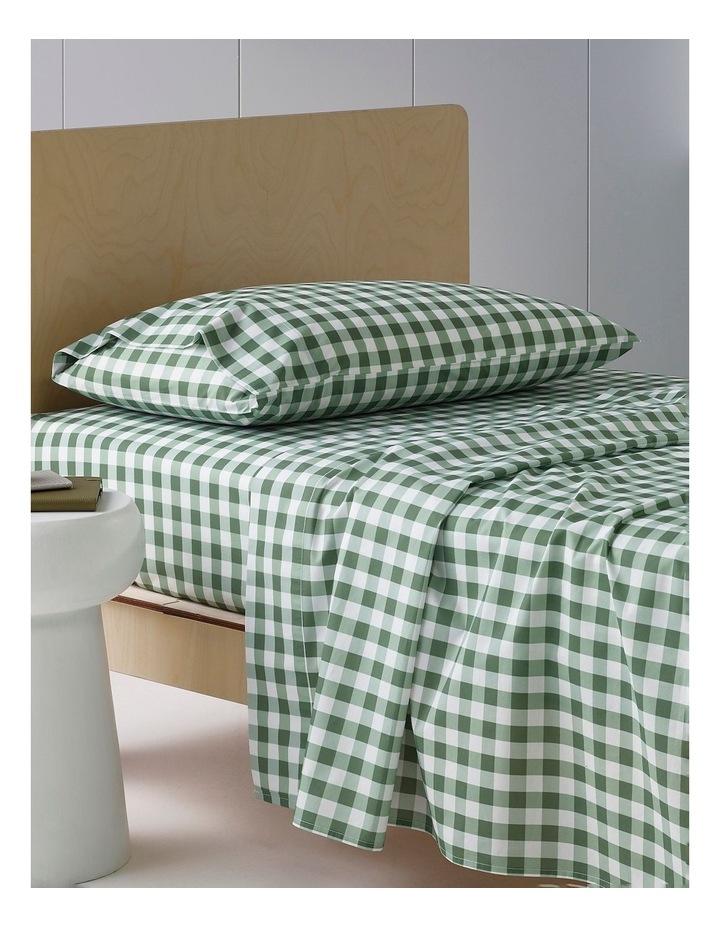 Gingham Cotton Sheet Set In Sage image 1