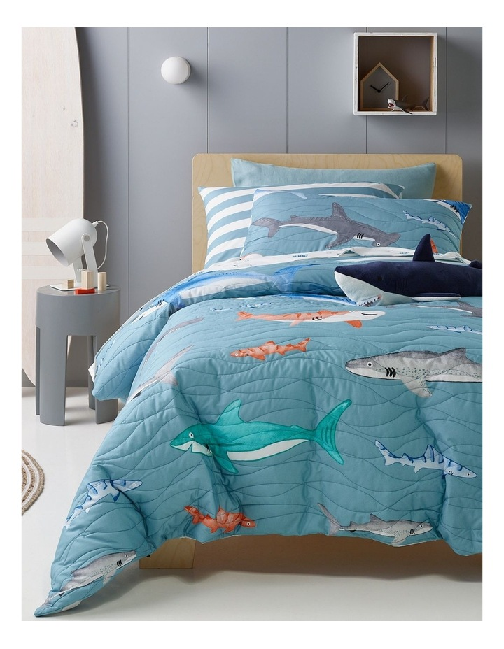 Sharks in the Sea Quilted Quilt Cover Set image 1
