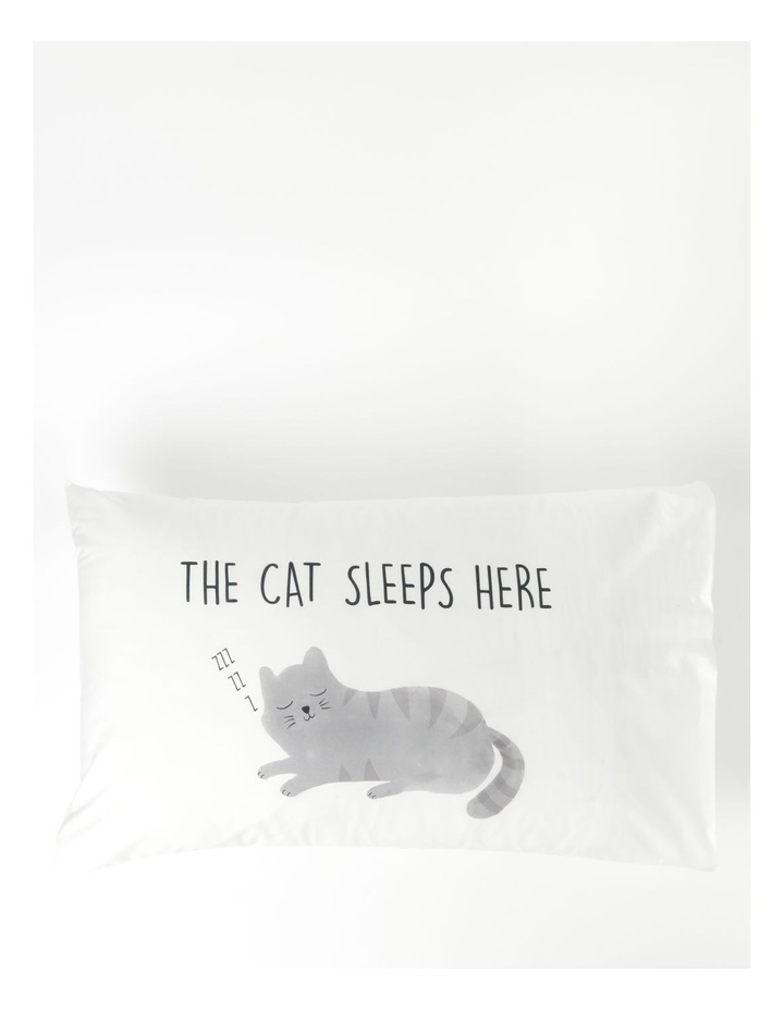 Cat Sleeps Here Pillowcase in Multicolour image 1