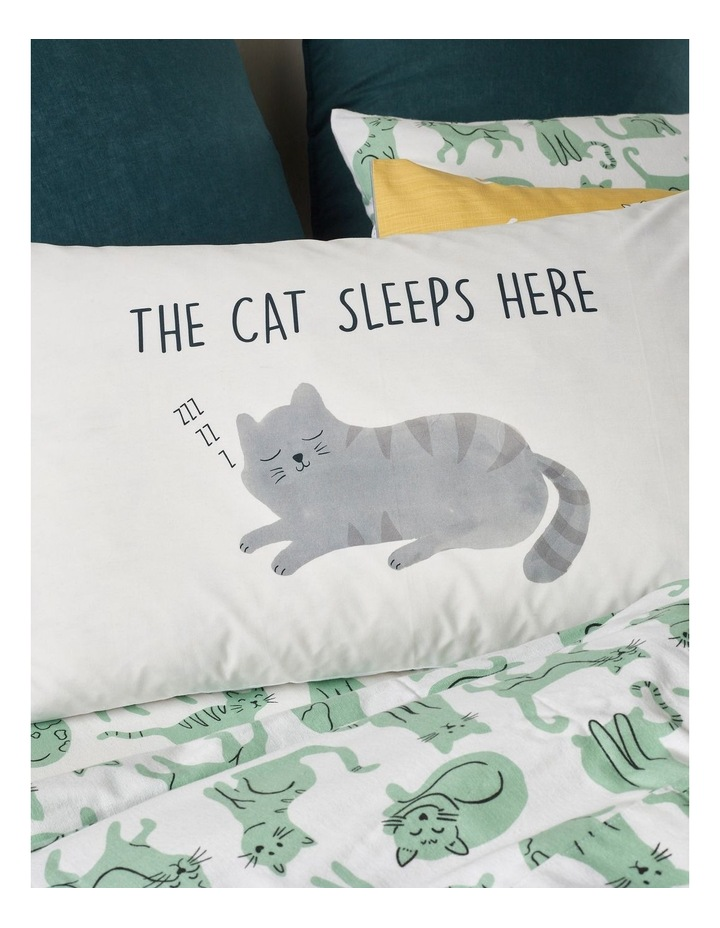 Cat Sleeps Here Pillowcase in Multicolour image 4