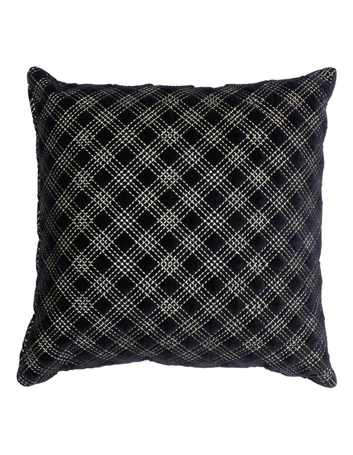 Nettle Embroidered Velvet cushion in Black image 1