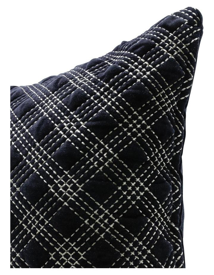 Nettle Embroidered Velvet cushion in Black image 2