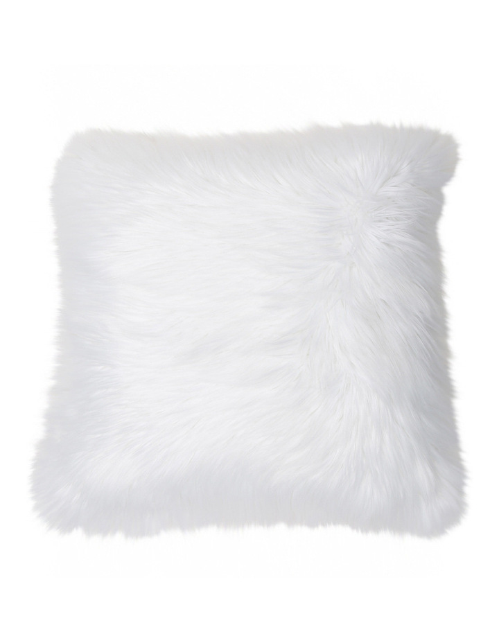 Kenya Faux Fur Cushion in White image 1