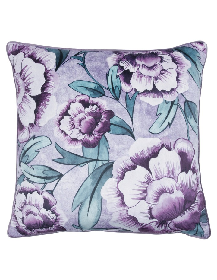 Montreal Printed Velvet Cushion in Purple image 1