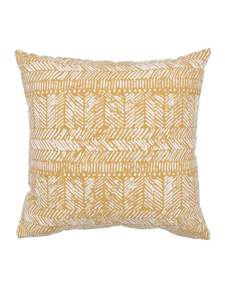 Zambia Printed Cotton Cushion in Golden Apricot image 1