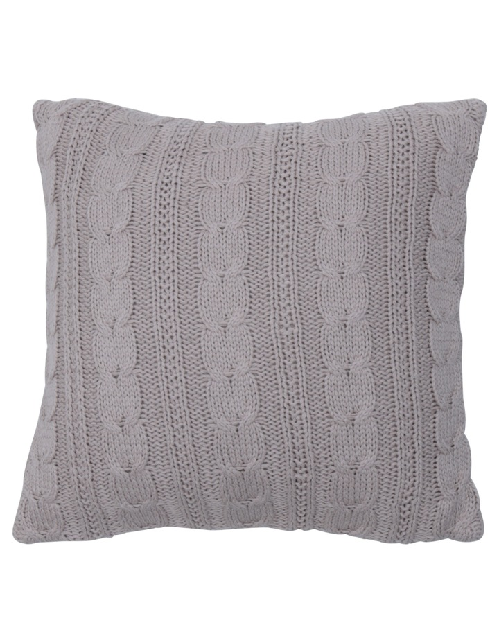 Rosario Knitted Cotton Blend Cushion in Taupe image 1