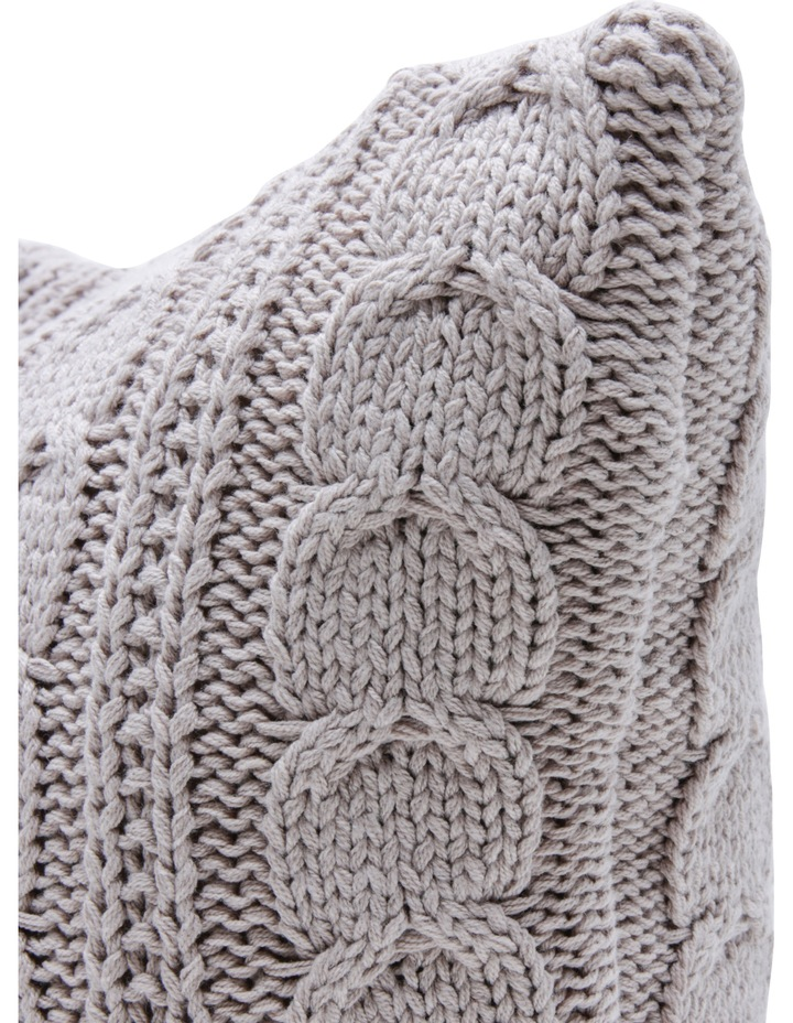 Rosario Knitted Cotton Blend Cushion in Taupe image 2