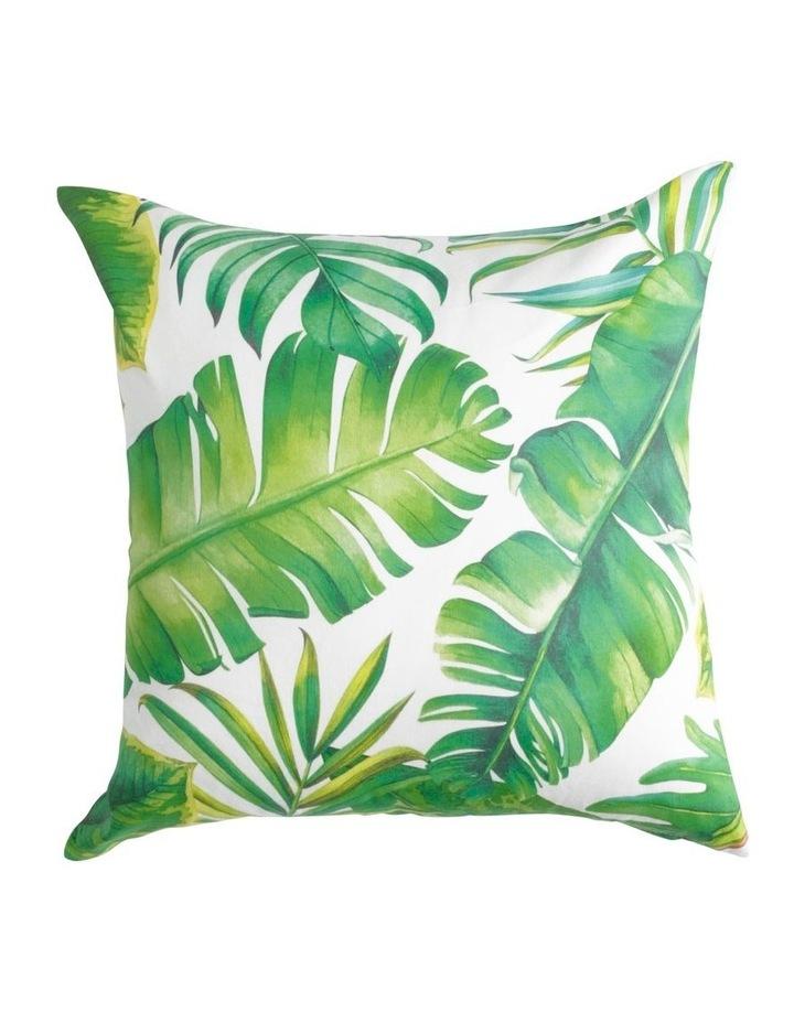 Laos Leaf Printed Cushion in Green image 1