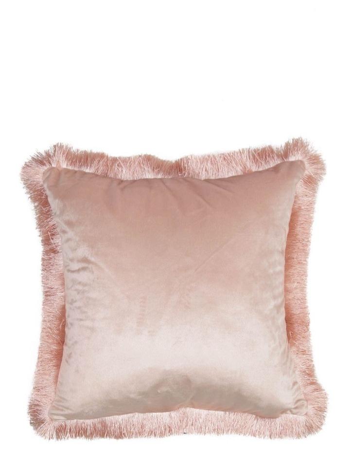 Allium Velvet Fringe Cushion in Blush image 1