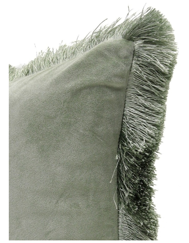 Allium Velvet Fringe Cushion in DuckEgg image 2