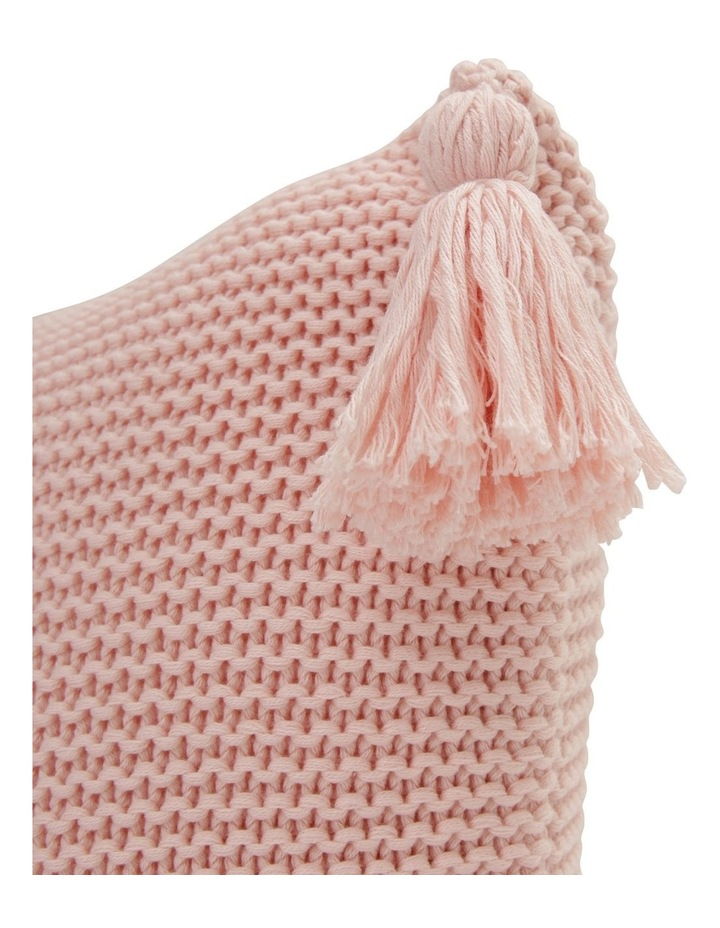 Melaky Knitted Cushion with Tassel in Seashell Pink image 2