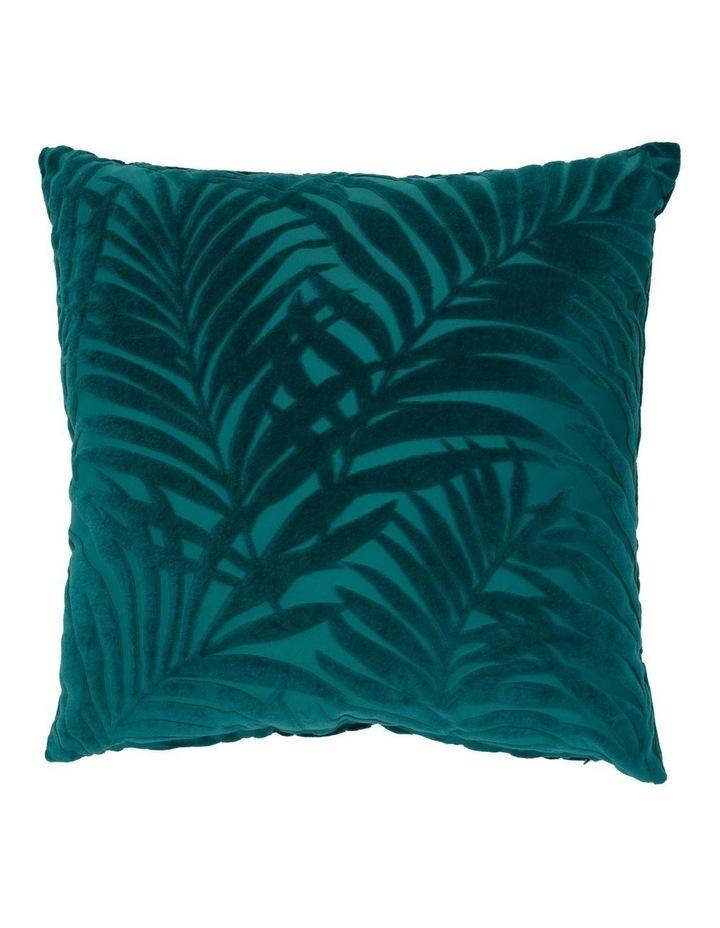 Santiago Embossed Leaf Cushion in Teal image 1