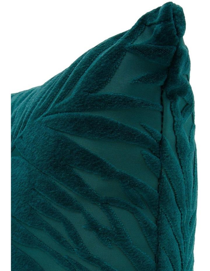 Santiago Embossed Leaf Cushion in Teal image 2
