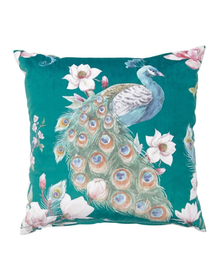 Galante Midnight Peacock Cushion in Teal image 1