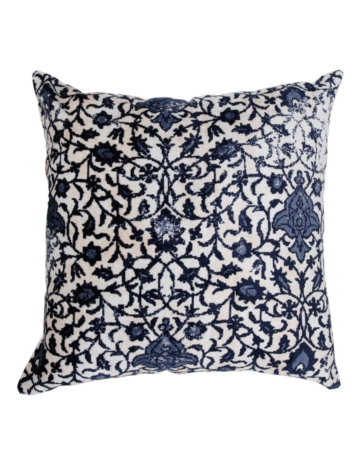 Macao Printed Velvet Cushion in Blue image 1