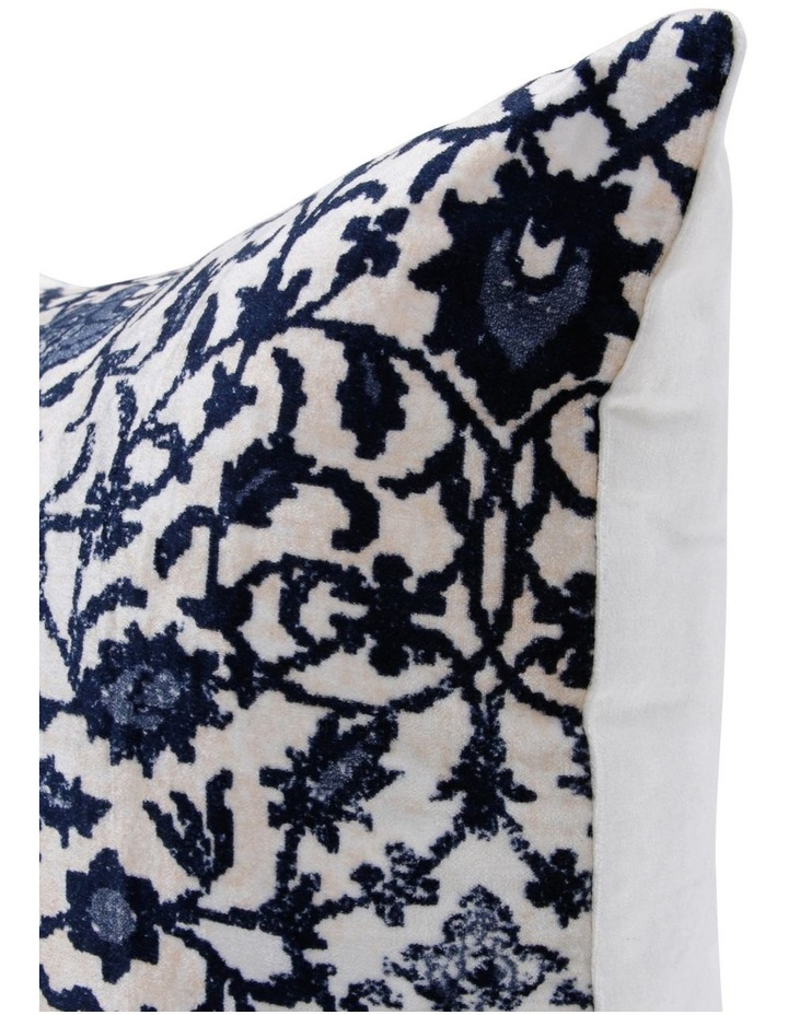 Macao Printed Velvet Cushion in Blue image 2