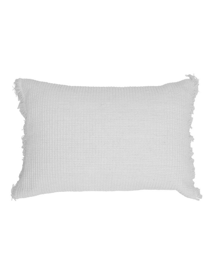 Coachwood Ribbed Cotton Cushion with Fringe in Off-White image 1