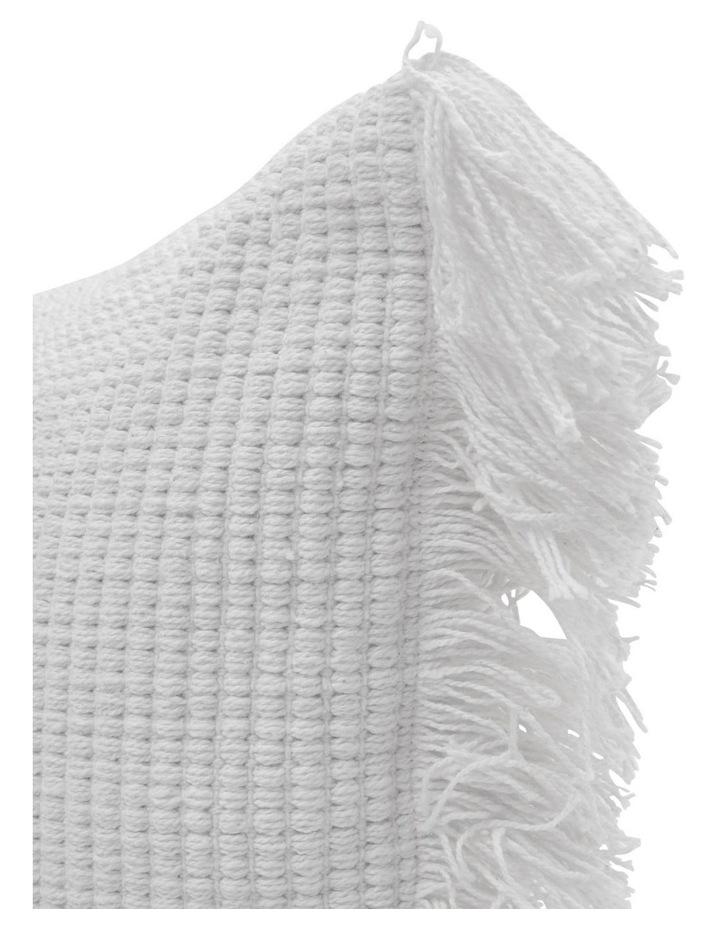 Coachwood Ribbed Cotton Cushion with Fringe in Off-White image 2