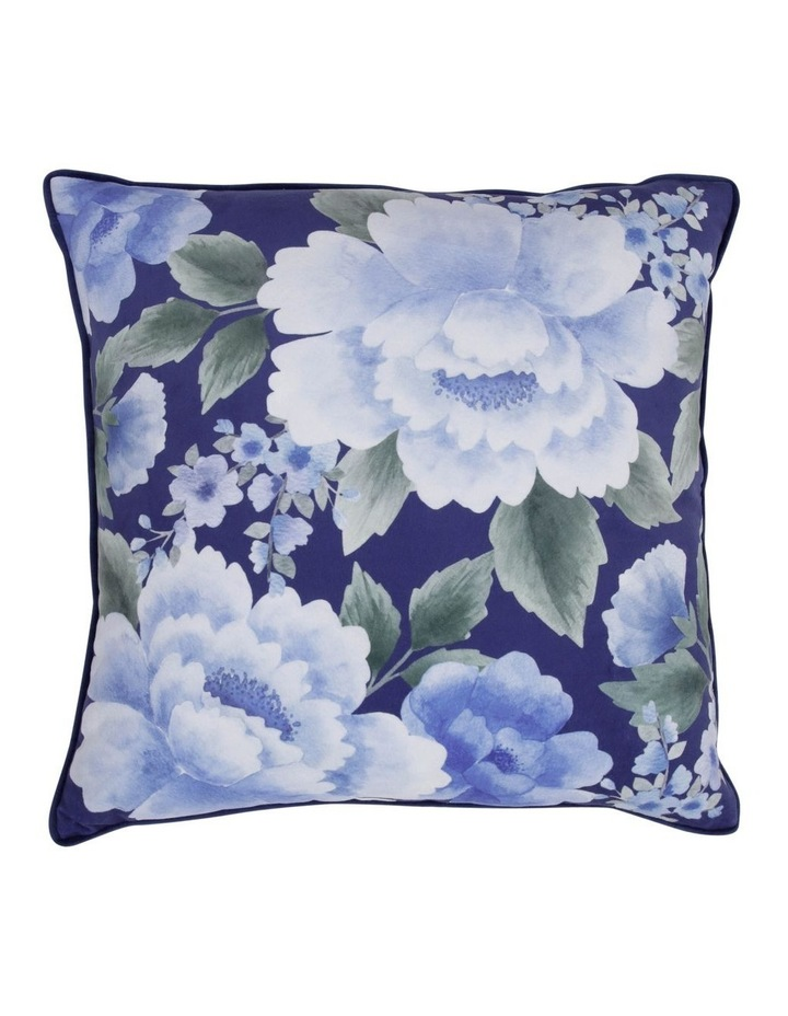 Henwood Floral Velvet Cushion in Navy image 1