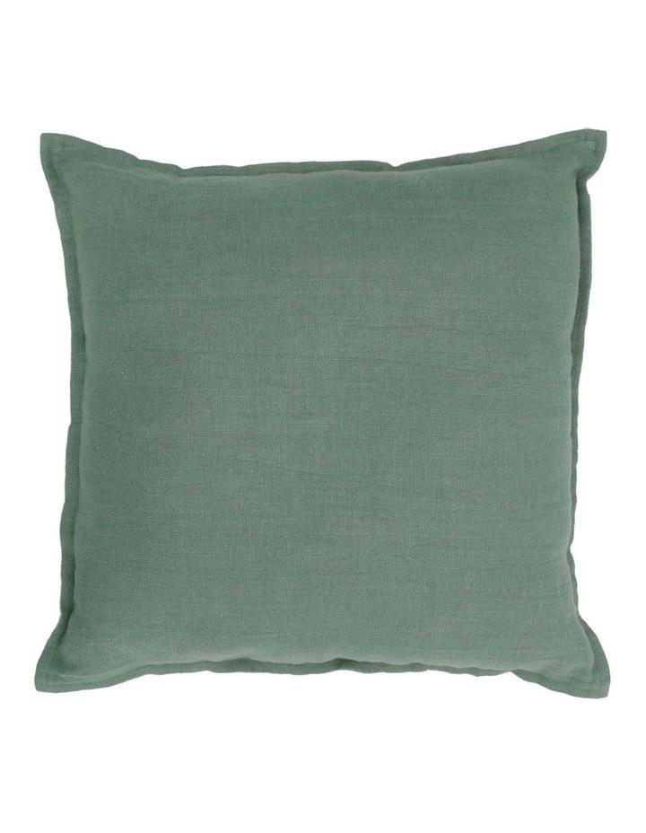 Lenox Linen Cushion with Flange Edge in Eucalyptus Green image 1