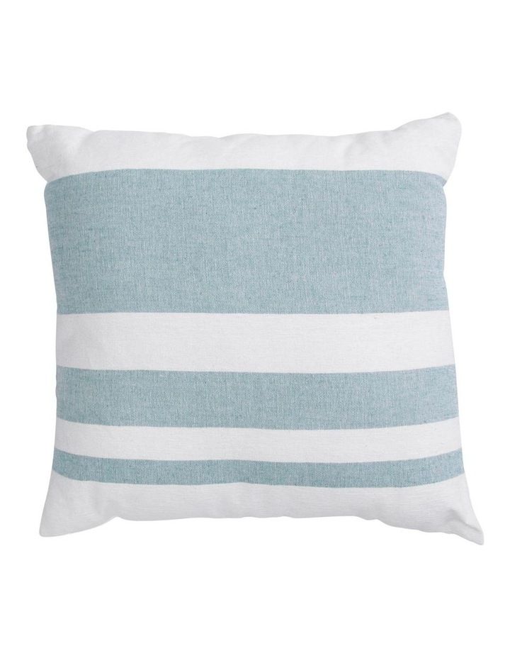 Lismore Striped Cotton Cushion in Ocean Blue image 1