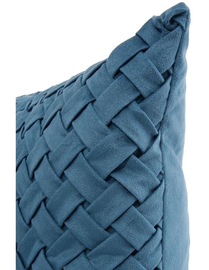 Rowland Woven Velvet Cushion in Teal image 2