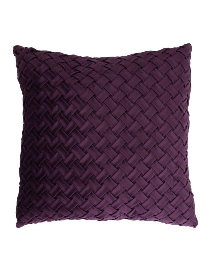 Rowland Woven Velvet Cushion in Plum image 1