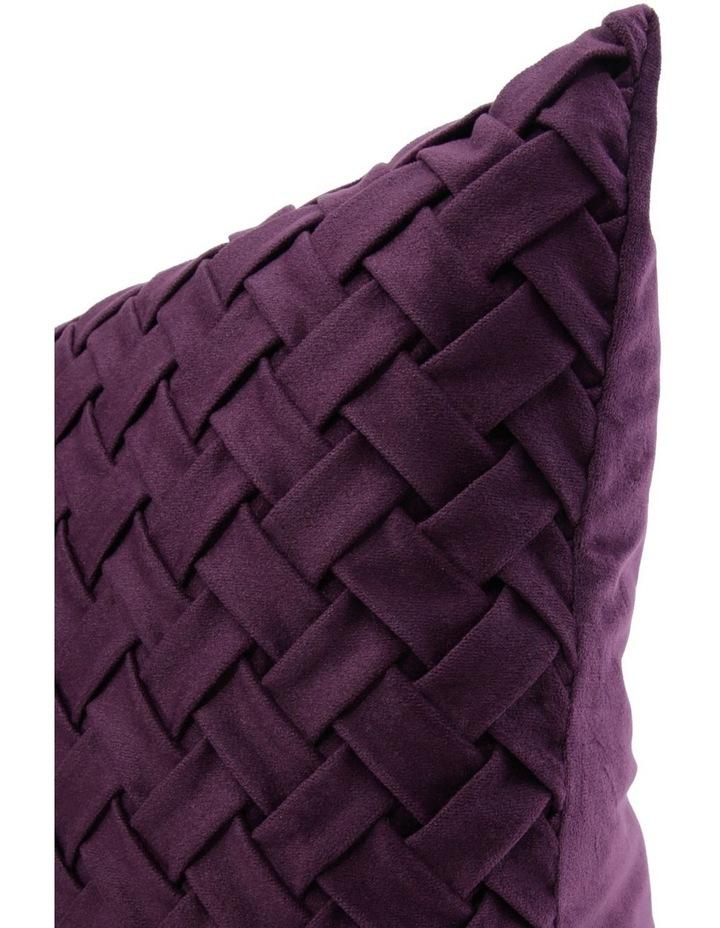 Rowland Woven Velvet Cushion in Plum image 2