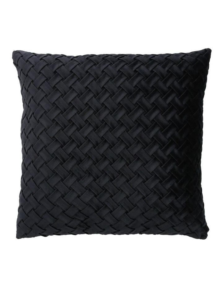 Rowland Woven Velvet Cushion in Black image 1