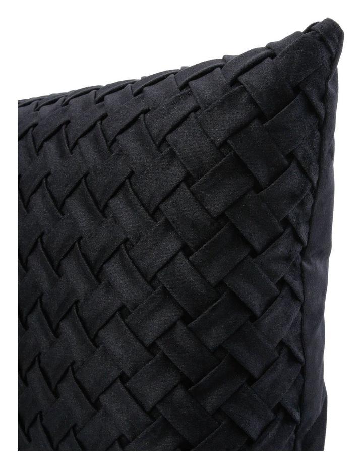 Rowland Woven Velvet Cushion in Black image 2