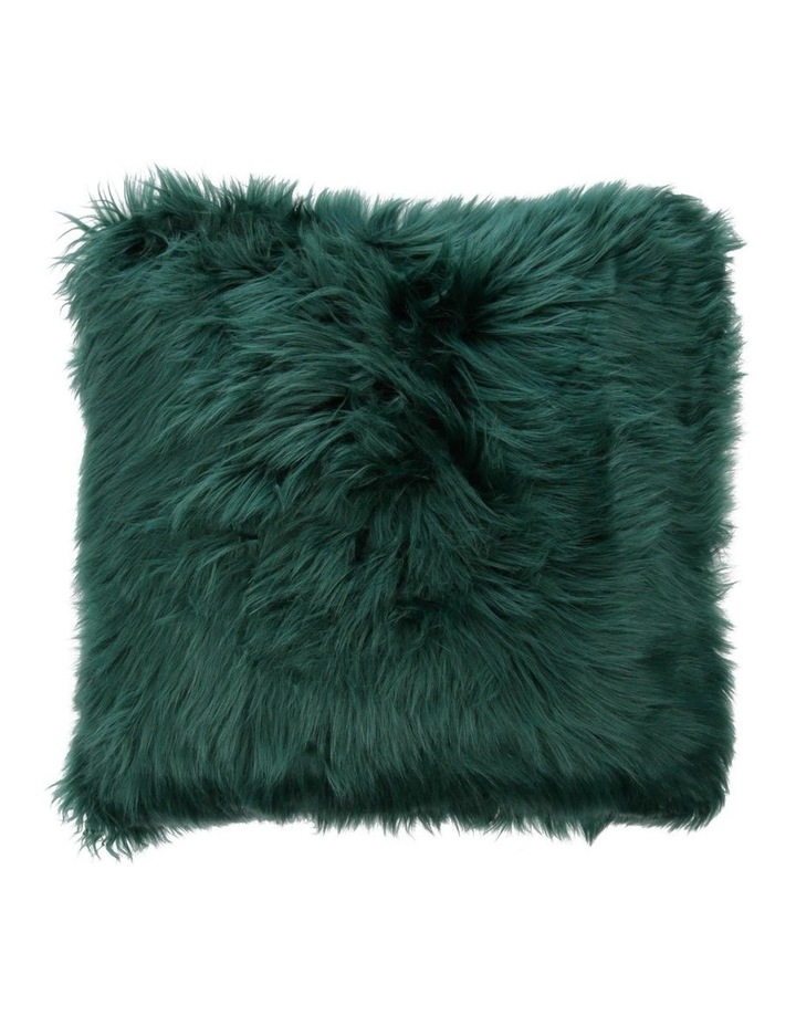 Kenya Faux Fur Cushion in Forest Green image 1