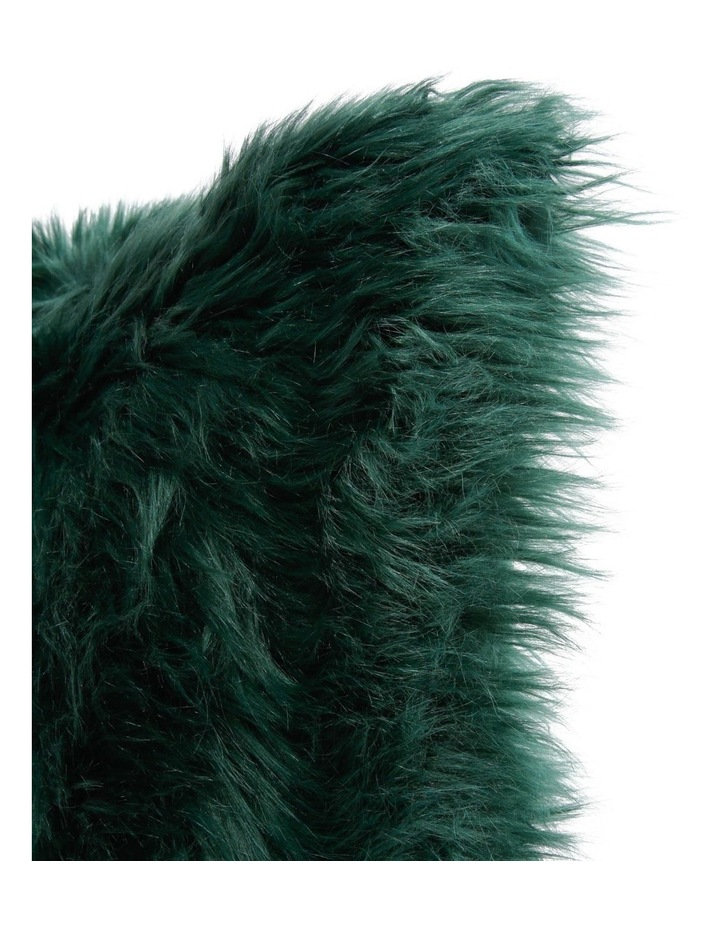 Kenya Faux Fur Cushion in Forest Green image 2