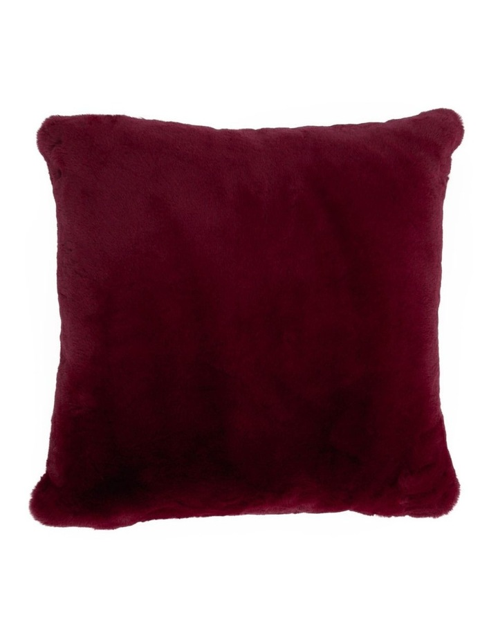 Amelie Faux Fur Cushion in Maroon image 1