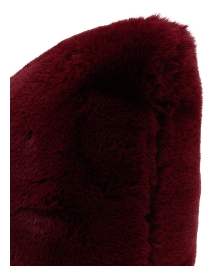 Amelie Faux Fur Cushion in Maroon image 2