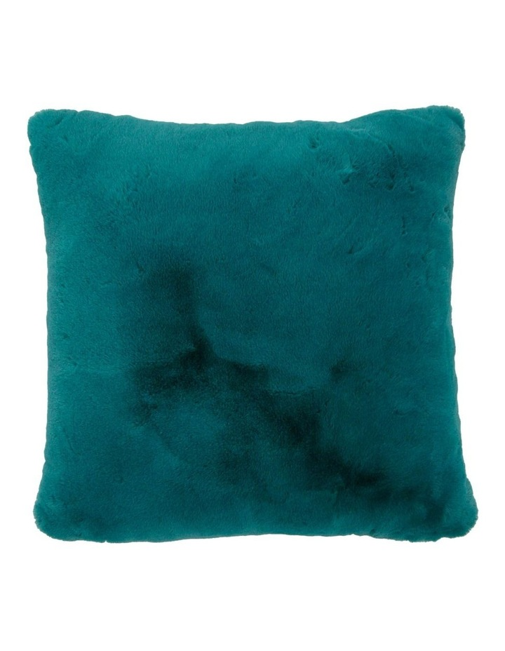 Amelie Faux Fur Cushion in Teal image 1
