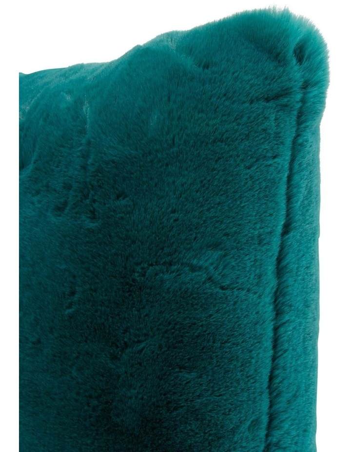 Amelie Faux Fur Cushion in Teal image 2