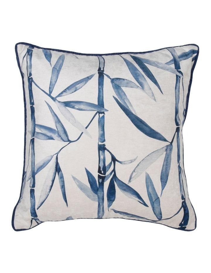 Noukon Bamboo Print Chenille Cushion in Blue 50x50 cm image 1