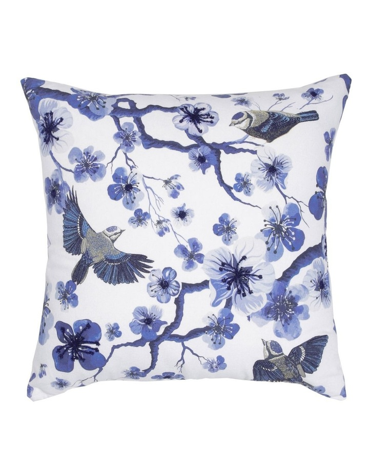 Tochiji Bird Print Cushion with Embroidery in Navy 50x50xm image 1