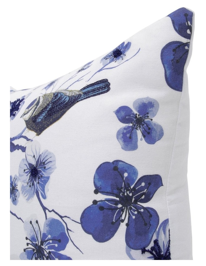 Tochiji Bird Print Cushion with Embroidery in Navy 50x50xm image 2
