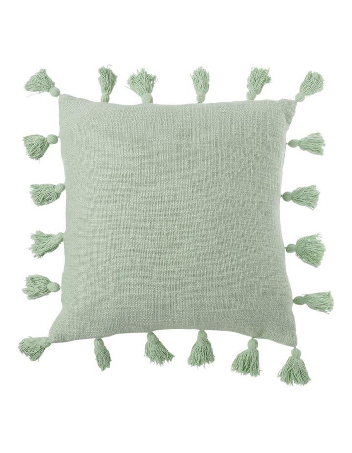 Gibraltar Cotton Cushion with Tassle Trim in Sage image 1