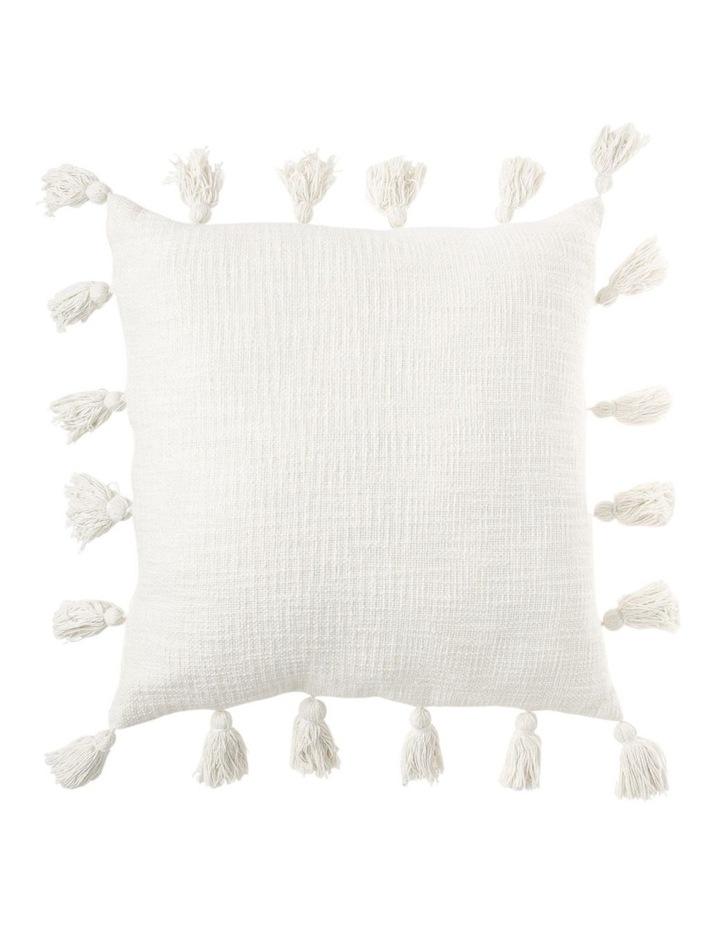 Gibraltar Cotton Slub Cotton Cushion with Tassles in Off White: 50x50cm image 1