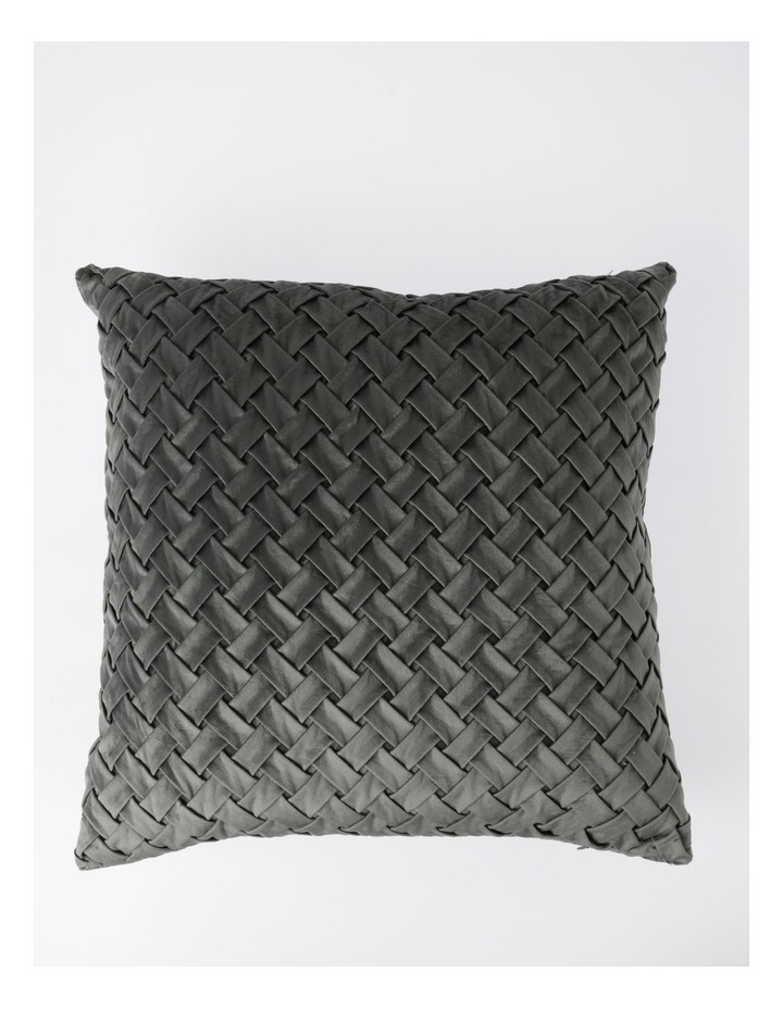 Rowland Quilted Velvet Cushion in Grey image 1