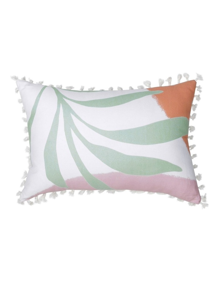 Moab Hand-drawn Leaf Print Cushion with Tassels 40x60cm image 1