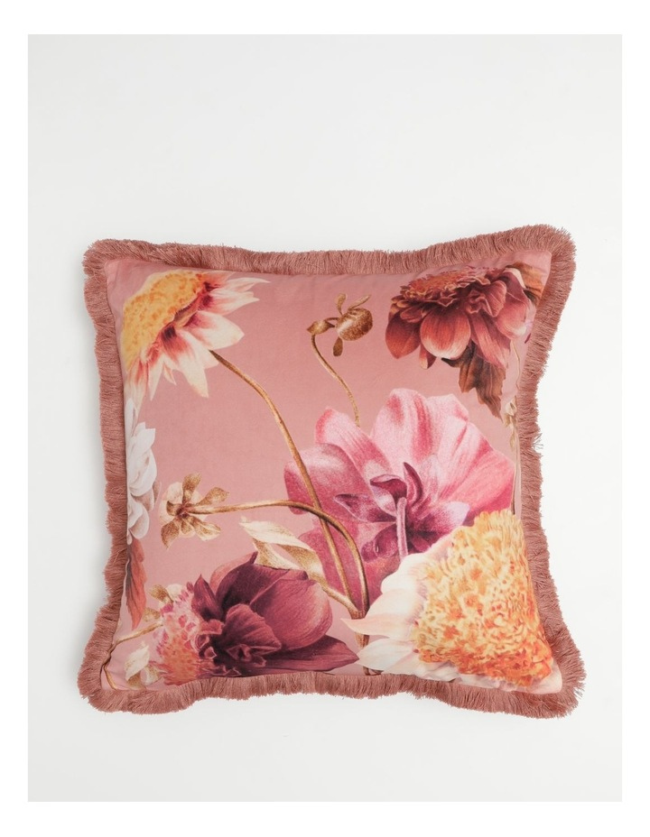 Herald Velvet Cushion With Fringes in Pink image 1