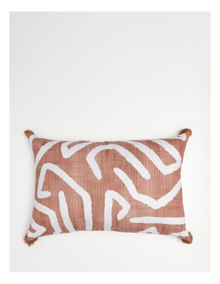 Adala Chenille Breakfast Cushion with Tassles in Terrcotta image 1