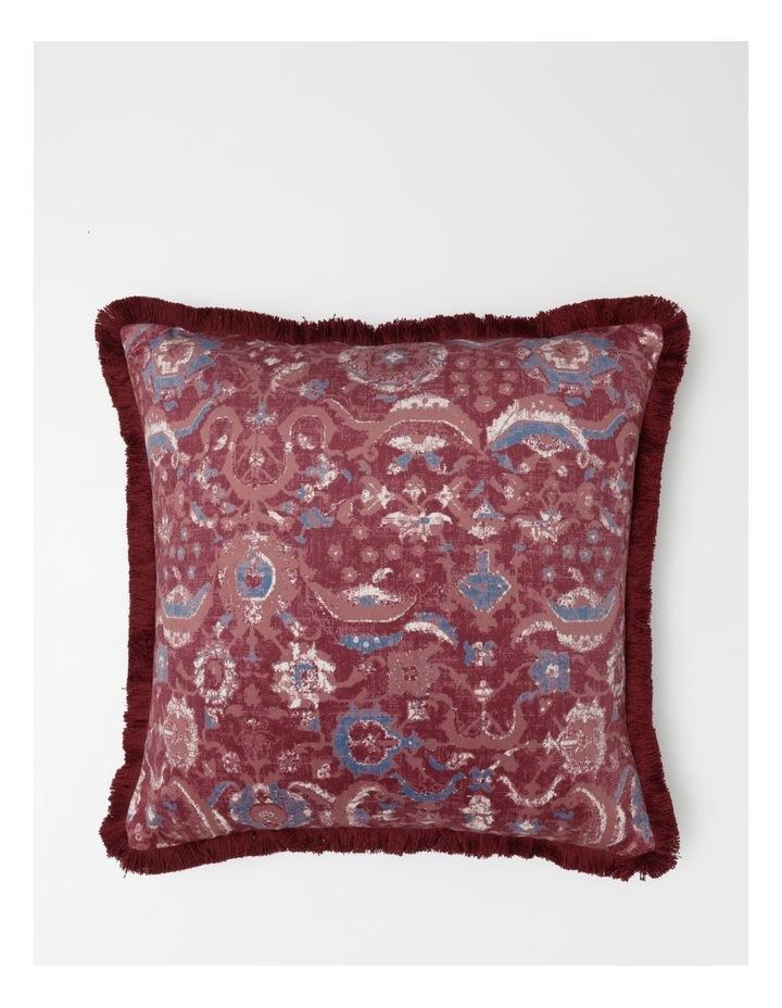Castletown Velvet Cushion w/ Fringes in Red image 1