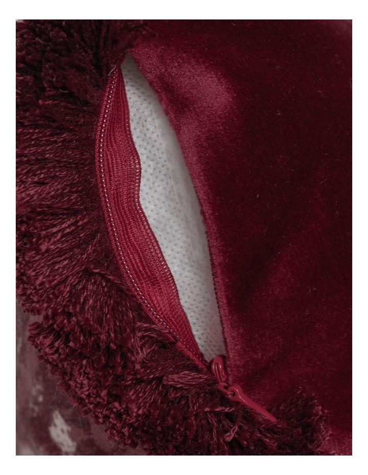 Castletown Velvet Cushion w/ Fringes in Red image 4
