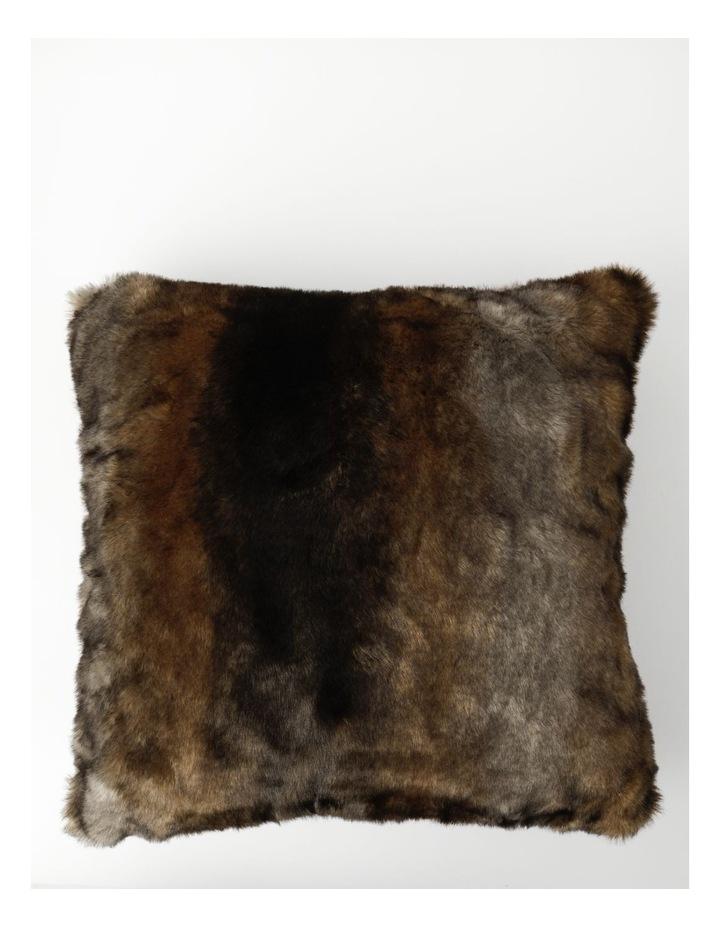 Saxon Faux Fur Cushion in Brown image 1