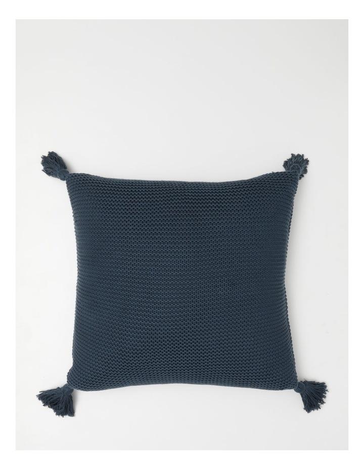 Melaky Knitted Cushion w/ Tassles in Midnight image 1